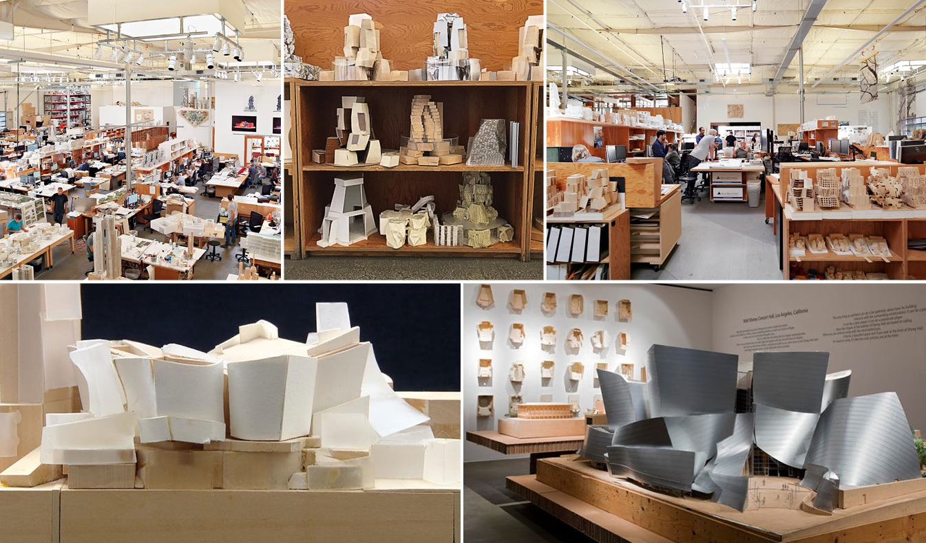 Gehry's team — his firm, Gehry Partners — is as prolific at model-making as he is at sketching. Unlike almost any other architectural firm, they'll develop dozens of models during a project. First as rough and simple as the sketches, then increasingly larger and more detailed.
