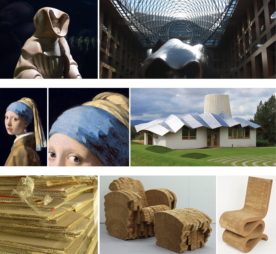 Gehry notes influences on this work ranging from Claus Sluter's  Sarcophagus of Philip the Bold  for the drape of the titanium conference room at DZ Bank in Brandenburg, Germany, to Johannes Vermeer's  Girl with a Pearl Earring  for the folds in the roof of Maggie's Centre at Ninewells Hospital in Dundee, Scotland, to a pile of scrap cardboard outside his Santa Monica, California studio for his Beaver and Wiggle chairs.