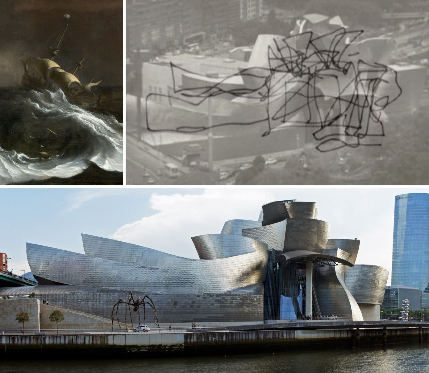 The design vocabulary of the Guggenheim Bilbao is strongly influenced by the billowing sails and stormy, roiling oceans of Dutch master paintings (top left).