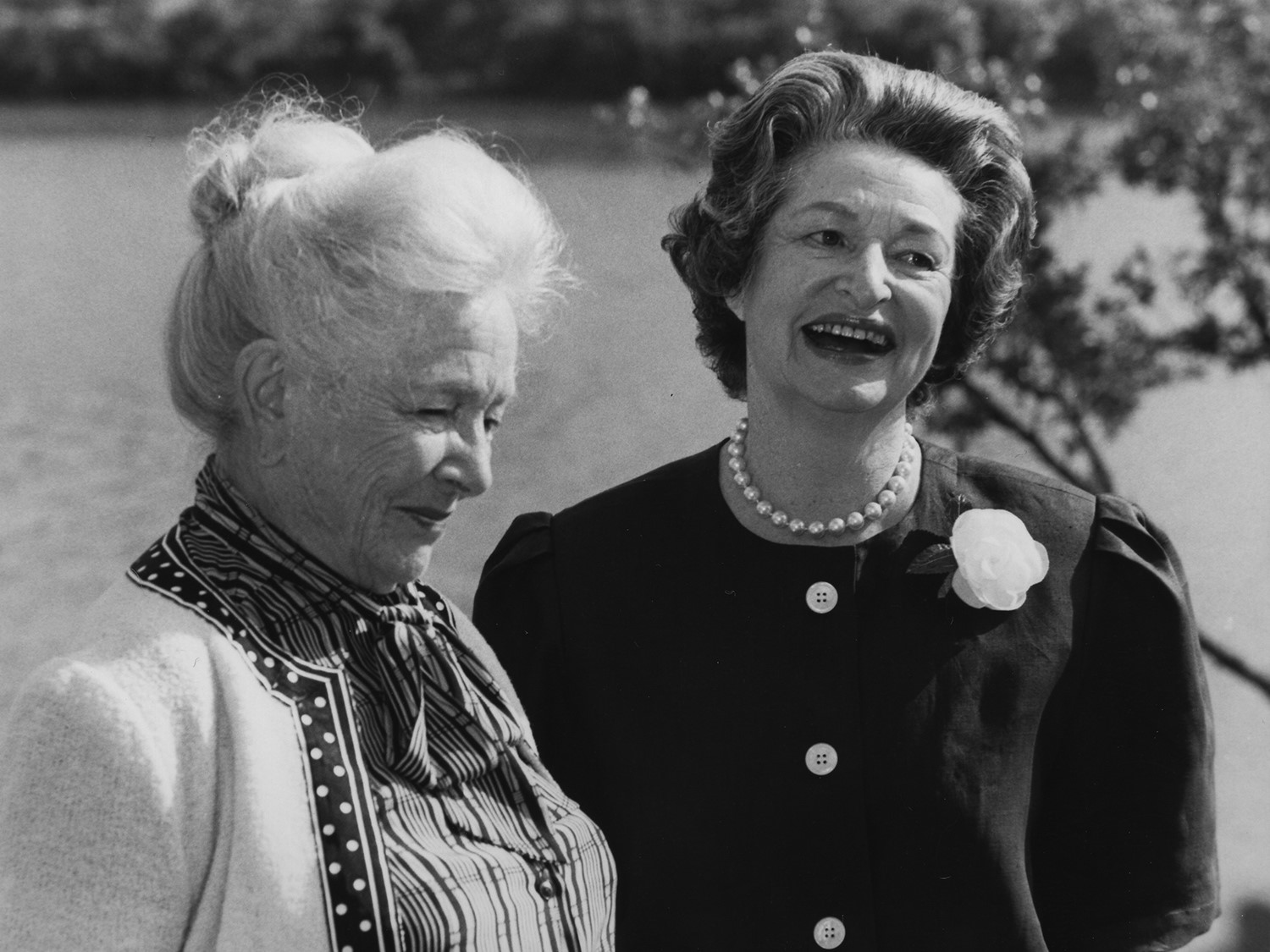 Helen Hayes and Former First Lady, Lady Bird Johnson at a press conference announcing the creation of the Wildflower Center on May 5, 1982 .    From the Lady Bird Johnson Wildlife Center