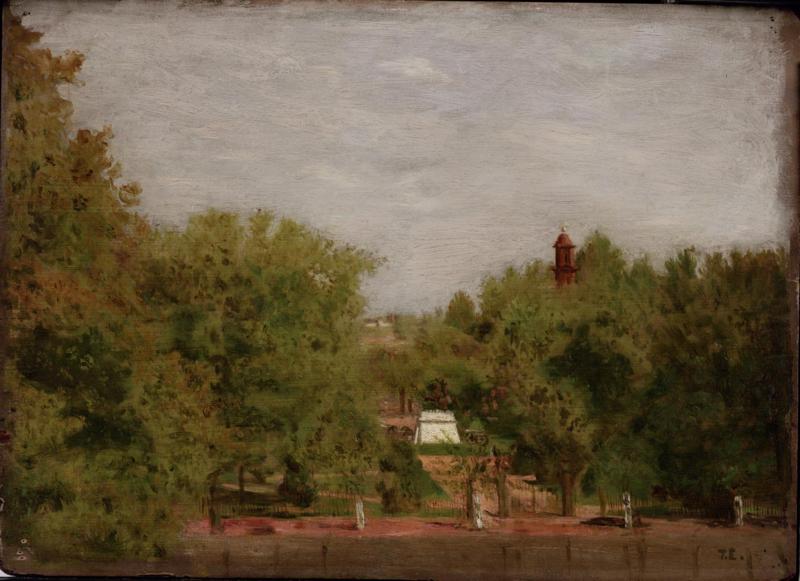 Thomas Eakins oil painting of Lafayette Park.