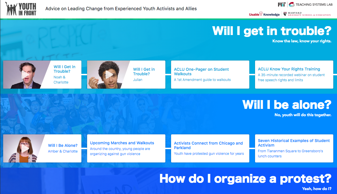Youth In Front website