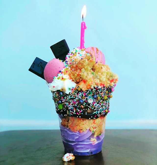 Did someone say party?  Come try our new *Birthday Cake* soft serve!! Here's how I eat it: dipped dish *new*, layers of funfetti cake, whipped cream, sprinkles, & glitter ! Yup, now I'm ready for a party nap :) #cakeparty #icecream #summer Available in NE