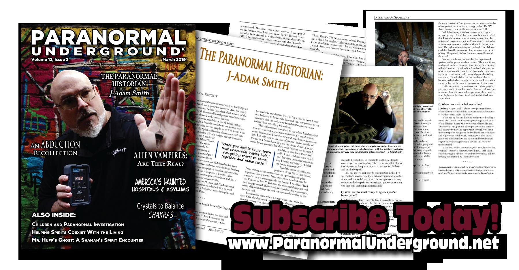 paranormal underground magazine featuring J Adam Smith.png