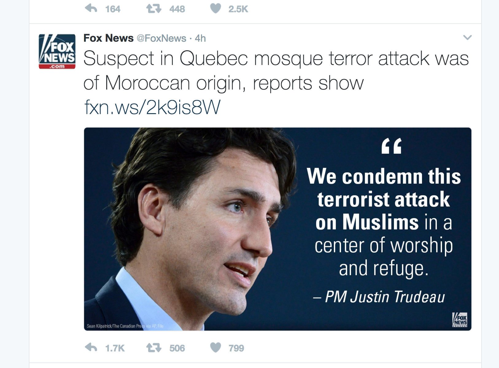 The anti-Trudeau: This tweet was left up hours after it had been established that the individual of Moroccan origin was no longer a suspect