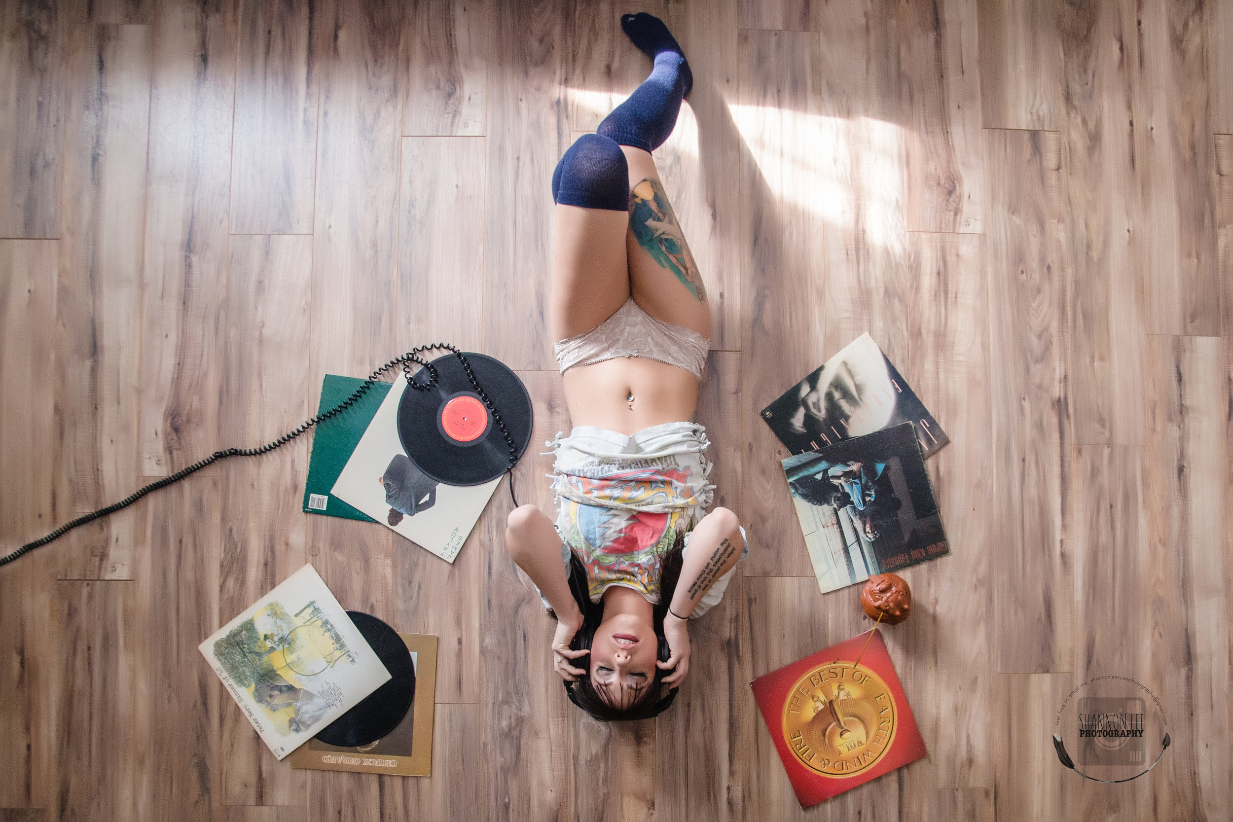 Boudoir Photography Rock and Roll with Records and Music