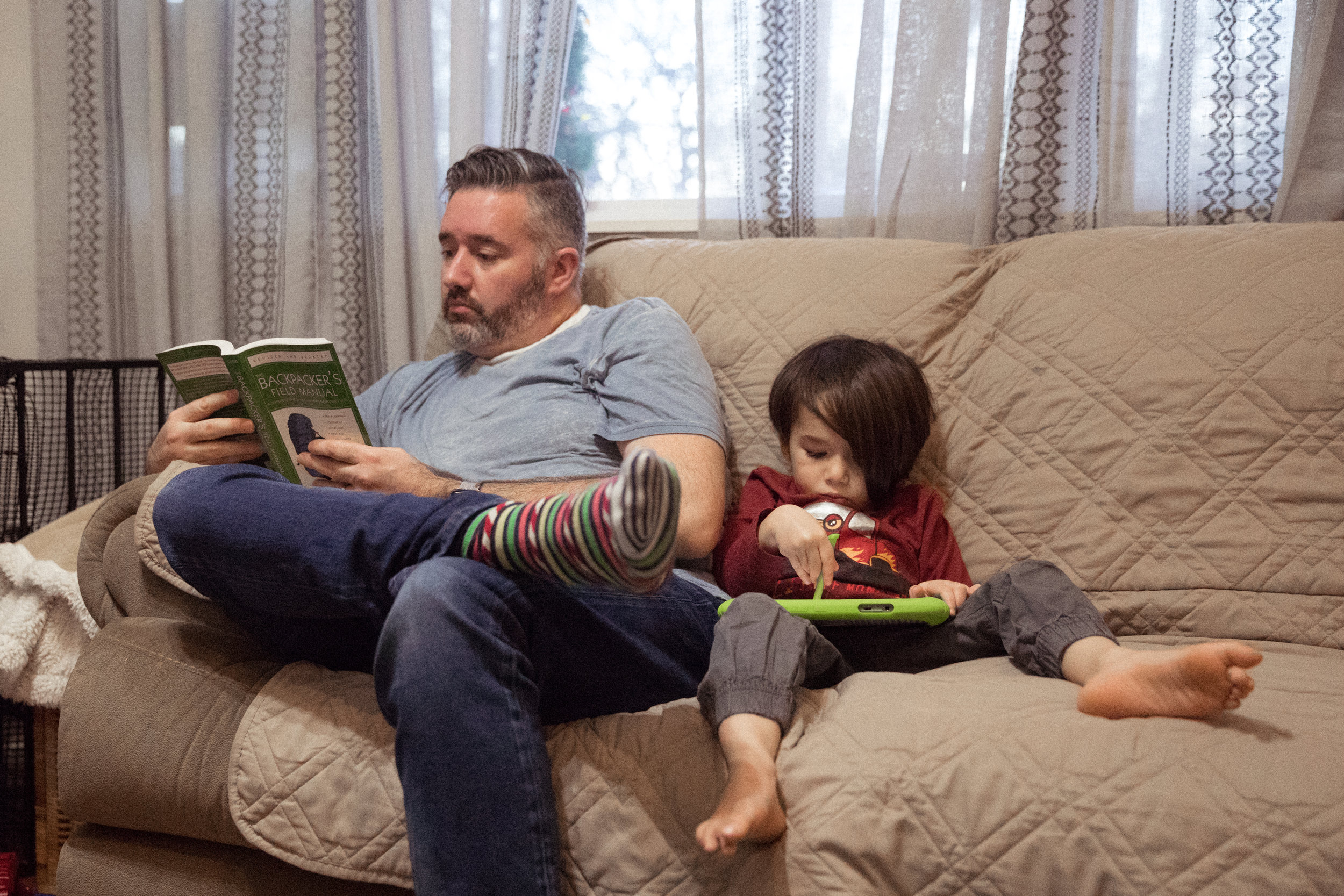 Love this image of my husband reading his hiking book while our 4 year old is playing on his leap pad but looks bored. I feel you buddy, mommy wants to get out too.