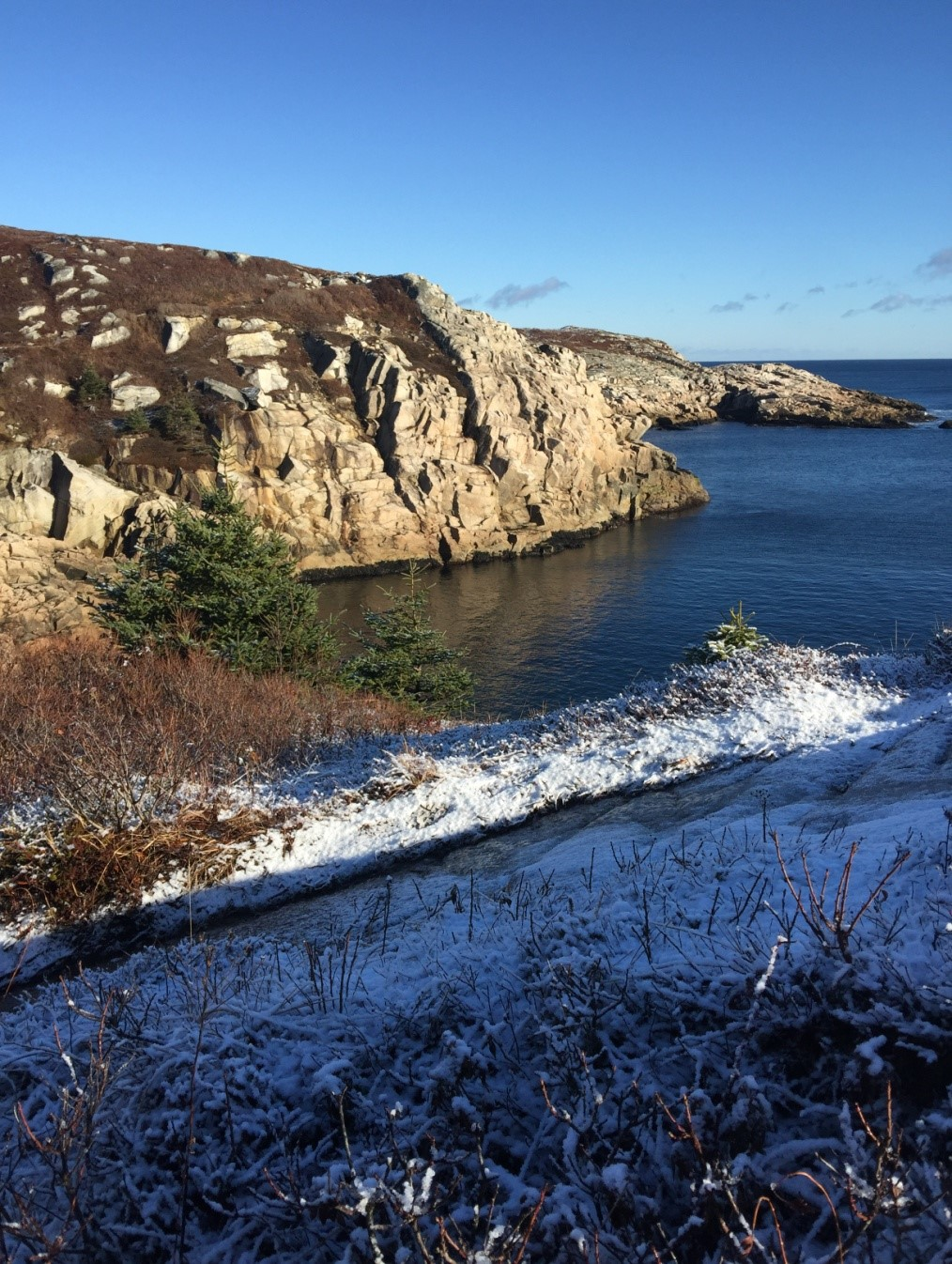 From snowy to sunny at Duncan's Cove, Nova Scotia
