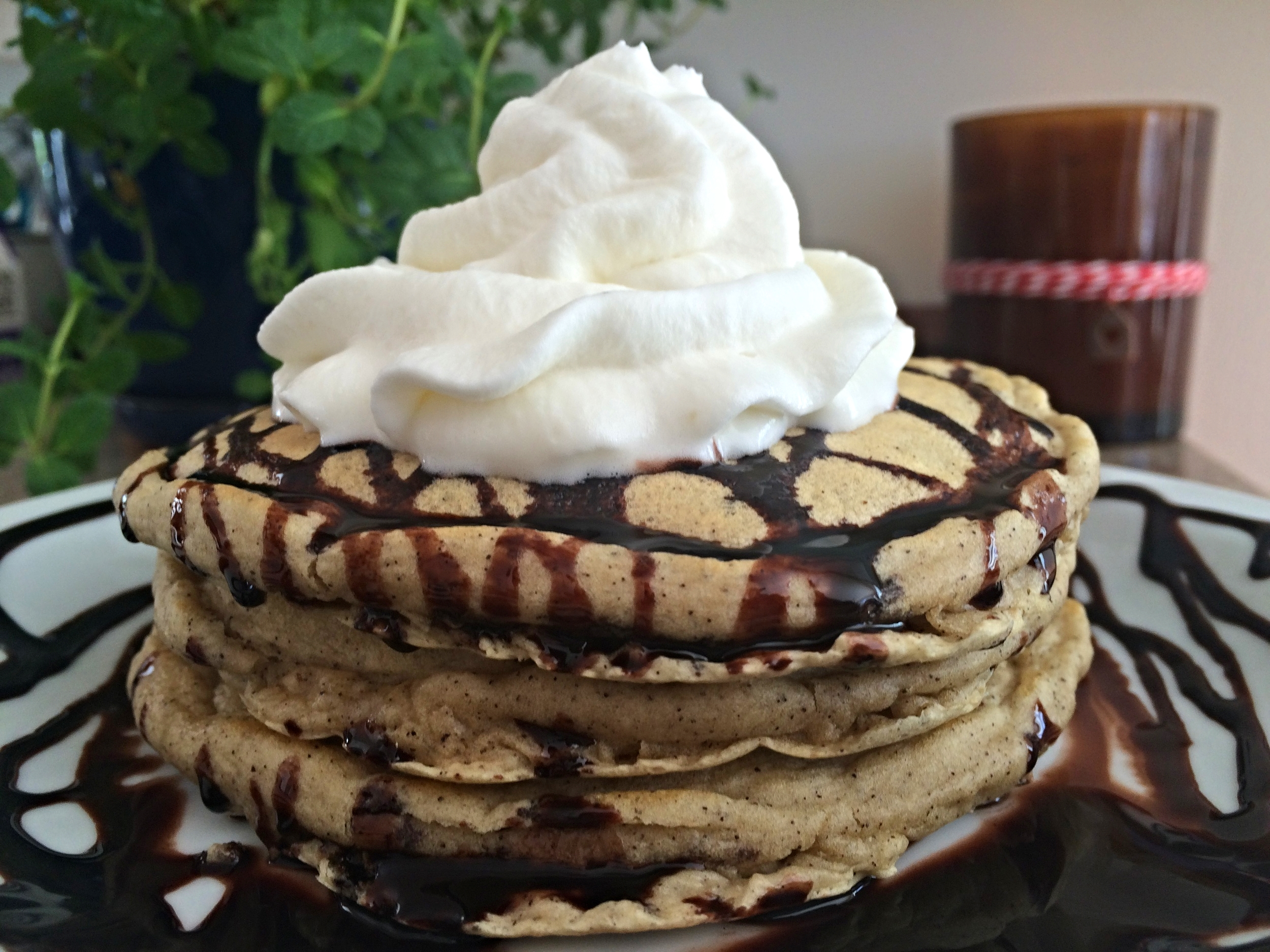 I got a little chocolate drizzle happy. Not to mention this was a time sensitive photo, the first whipped cream mound melted and slipped off the back due to the hot and delicious nature of the pancakes. Pictured here, whipped cream mound take 2.