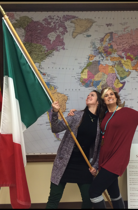 Melinda and I representing with the Italian flag. (At first we accidentally picked up the Mexican flag...)