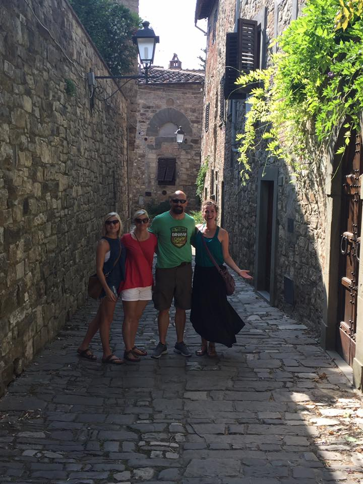 Baleigh (Hand), Melinda, Paul, and I in Montefioralle, Chianti, Italia