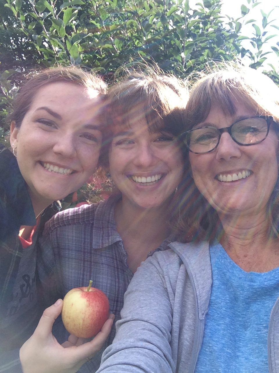 Hannah, myself, and my mom apple picking
