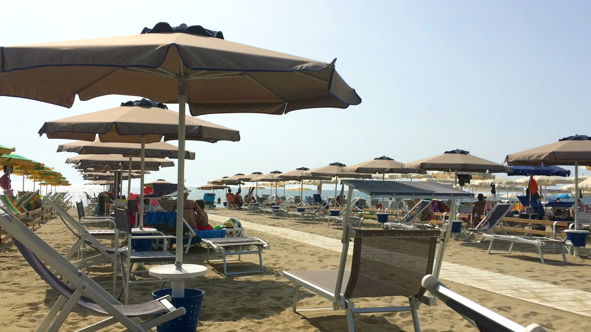 The Beach at Viareggio. Most Italian beaches are not free, you have to rent an umbrella and a couple chairs, usually around 30euro per day.