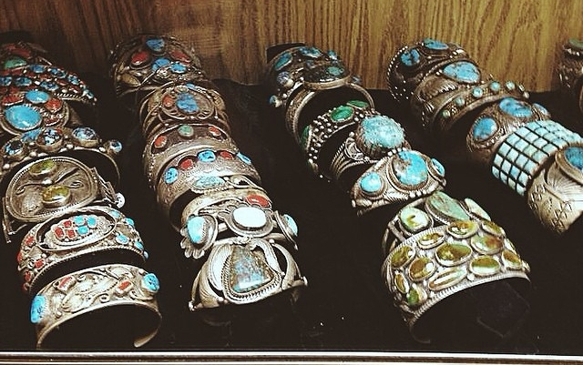 Turquoise and coral cuff bracelets in a shop in the Santa Fe Plaza