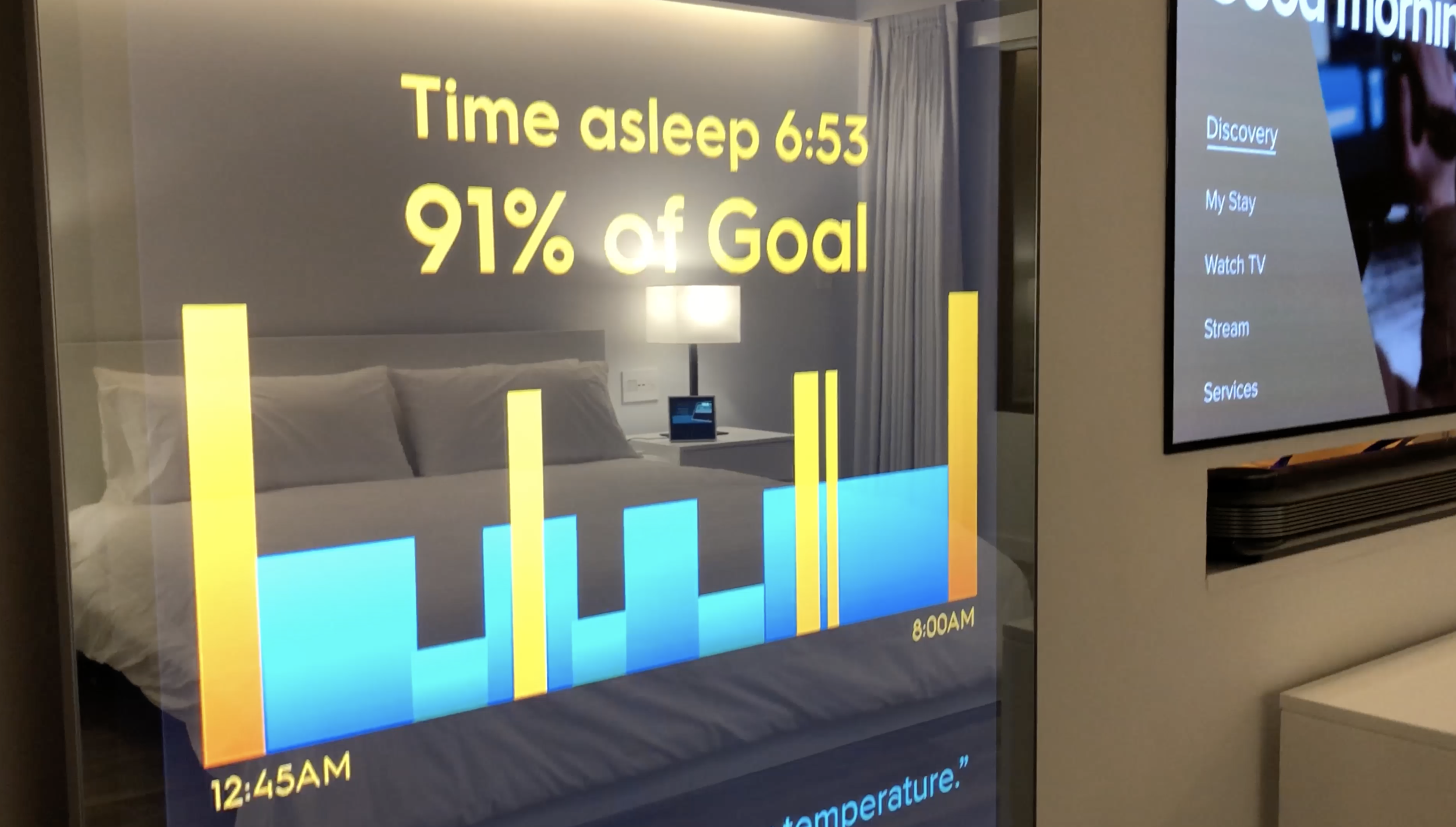 Sleep tracking connected to intelligent lighting for sleep promotion & jetlag prevention.