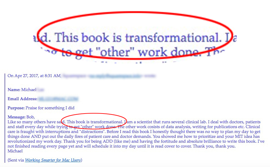"""Reader Michael called my eBook """"transformational."""" (Click to enlarge.)"""