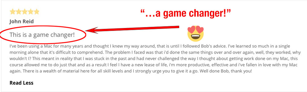 "Student John Reid called my course ""a game changer."" (Click to enlarge.)"
