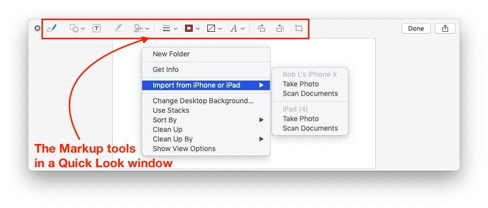 This is the Markup toolbar, as seen in a Quick Look window.