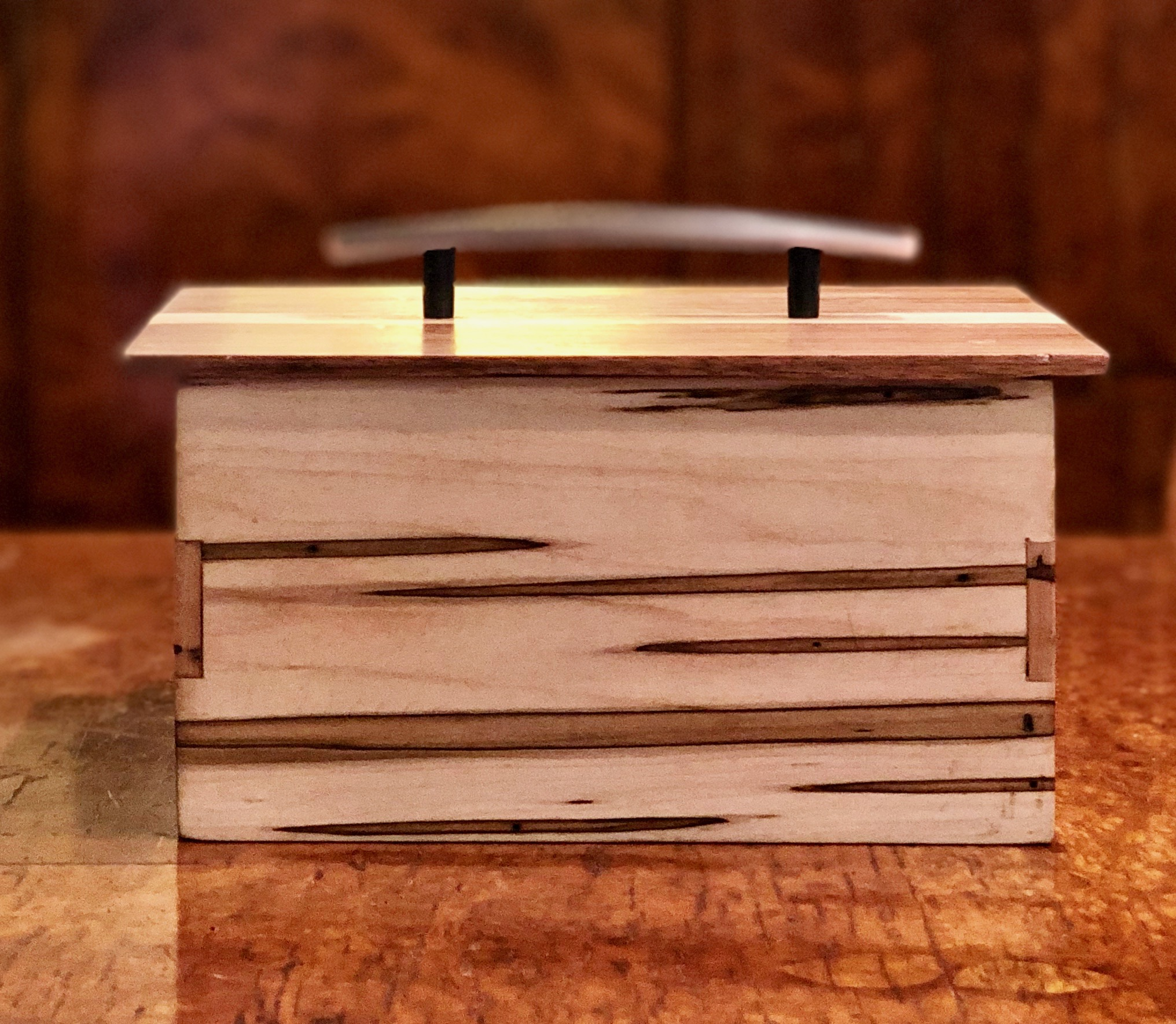 Maple and walnut box—$55 - 8 x 5 x 6 inches