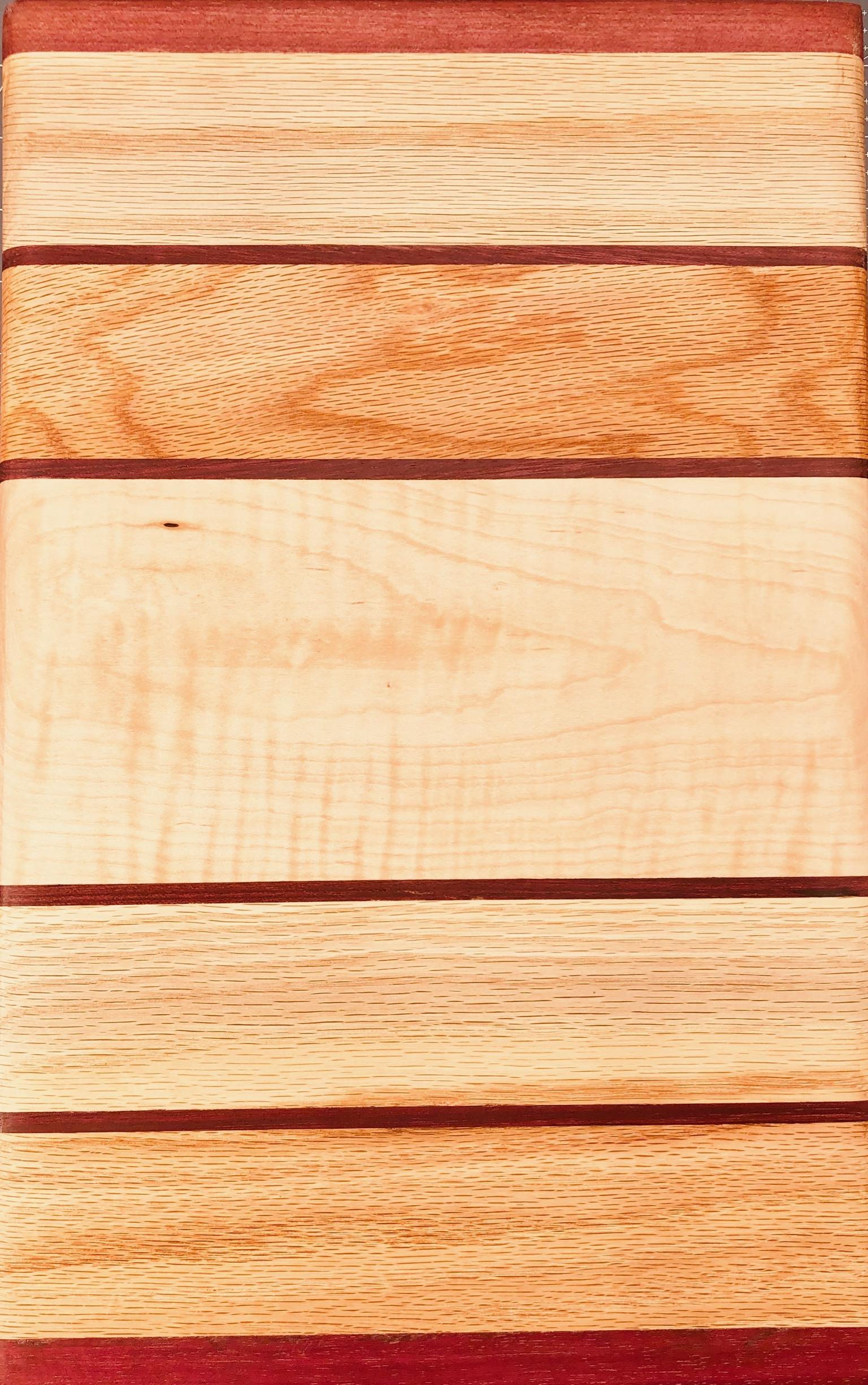 Oak, maple, andpurpleheart cutting board—$75 - 10 x 14 x 1.25 inches