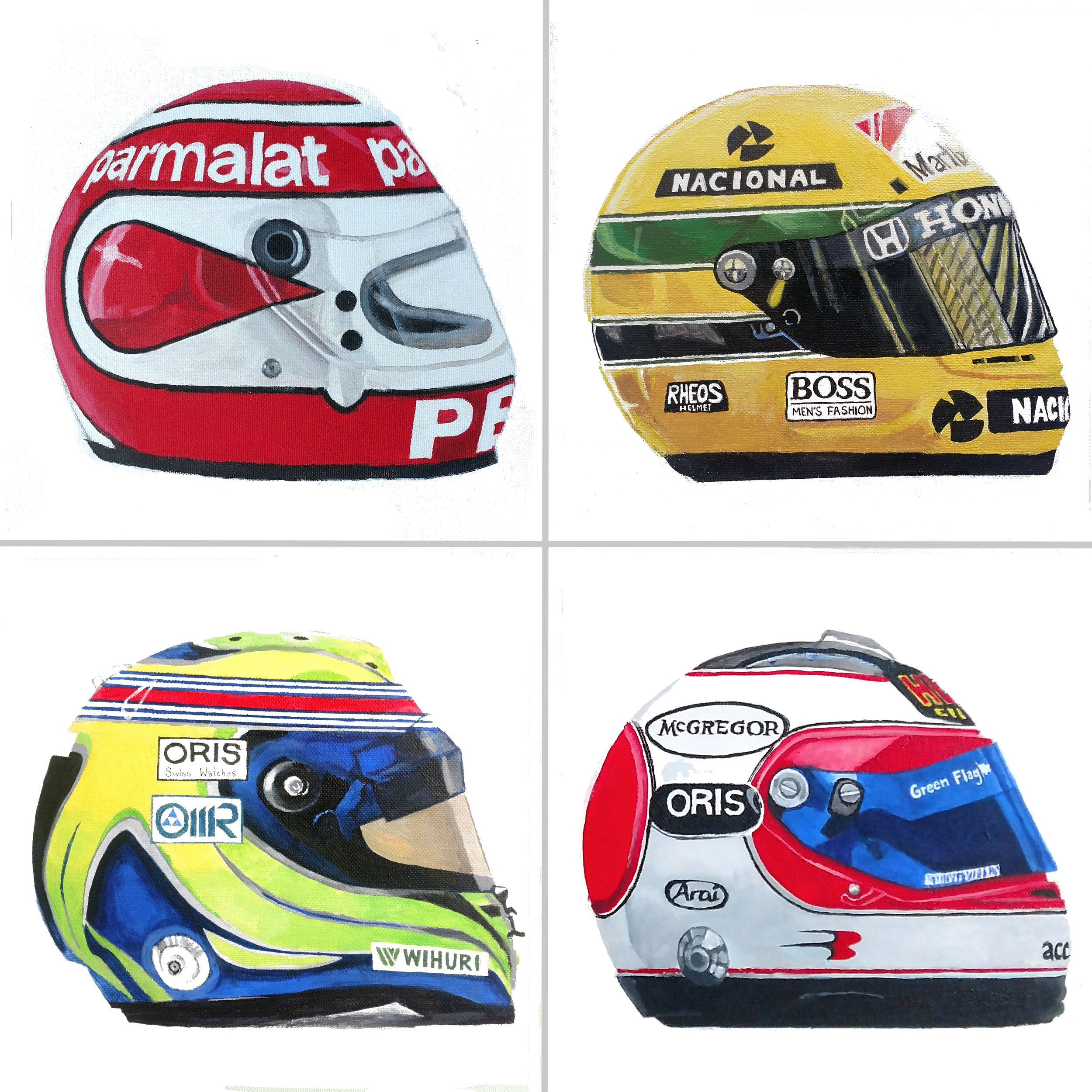 "Brazilian Formula 1 Helmets, 10x10"", Acrylic on Canvas"