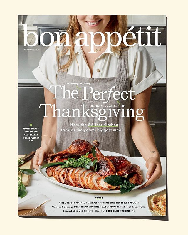 Look, Ma, I'm on the cover of Bon Appetit Magazine! BIGGGG day at BA, as we launch Season 2 of Making Perfect which follows the Test Kitchen Fam on a journey towards Thanksgiving perfection. All the recipes can be found in this beast of an issue on newsstands today. Link in the bio to watch episode one NOW!