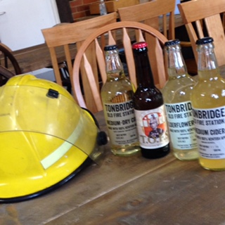 TOFS beer & cider....and a fireman's helmet.