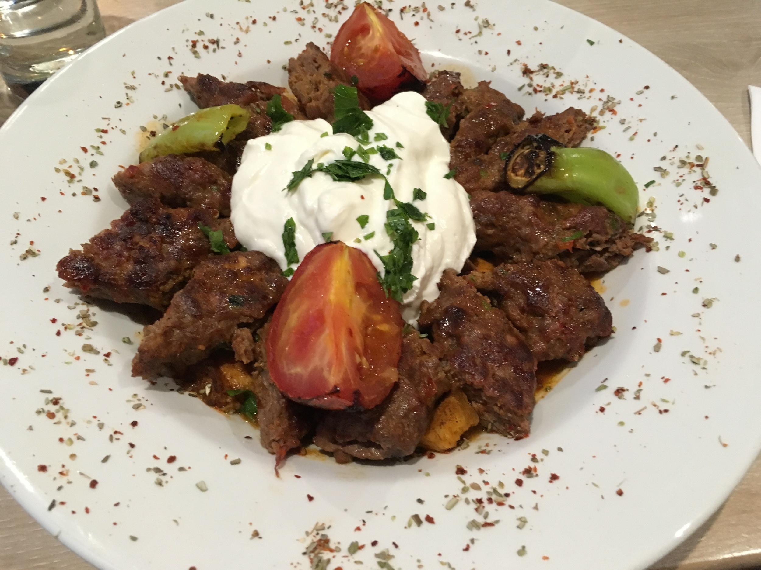 Lamb adana iskender - a fantastic  mélange  of flavours