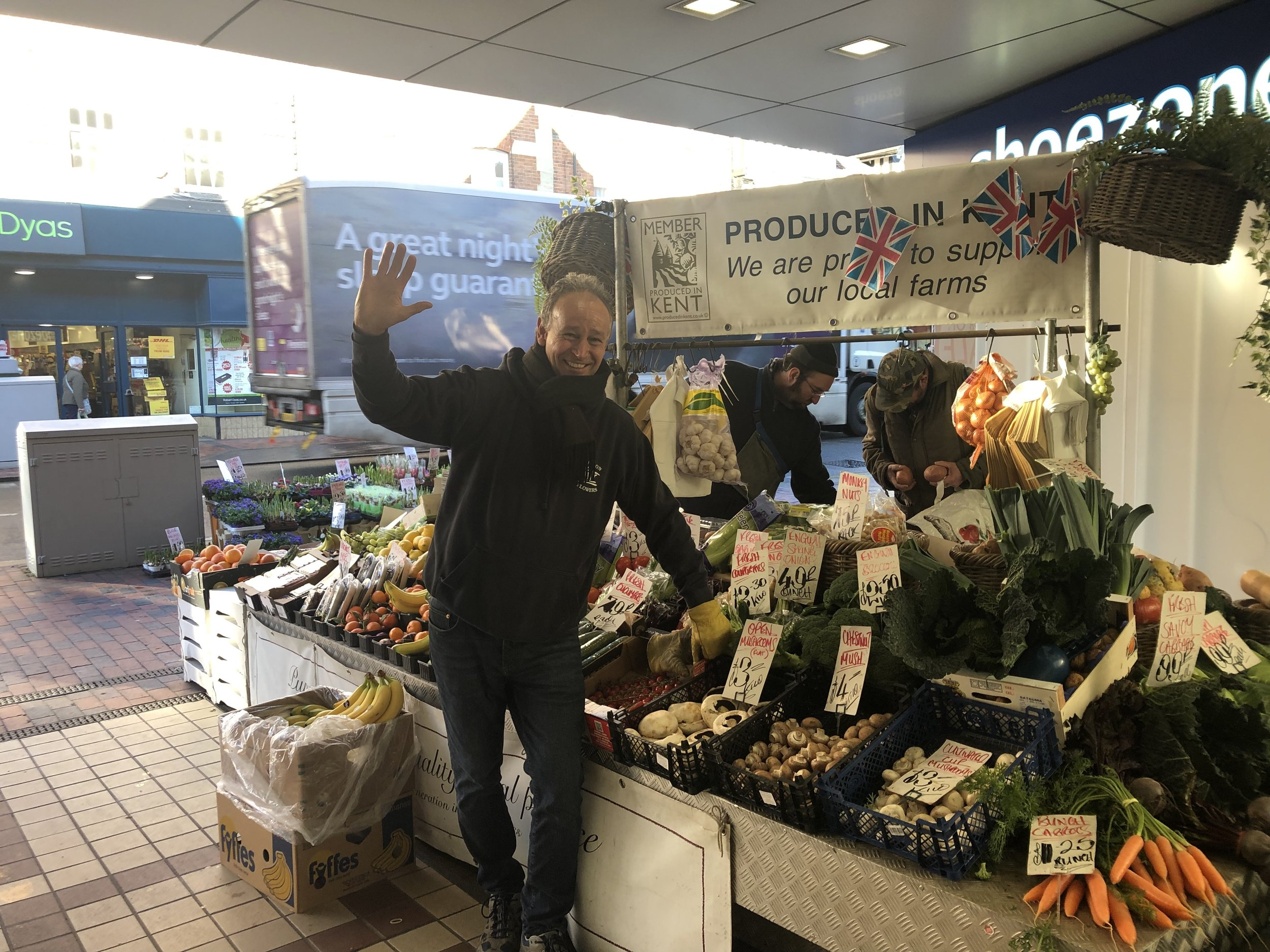 Rob Smith at his fruit and veg stall - photo courtesy of Rob Smith