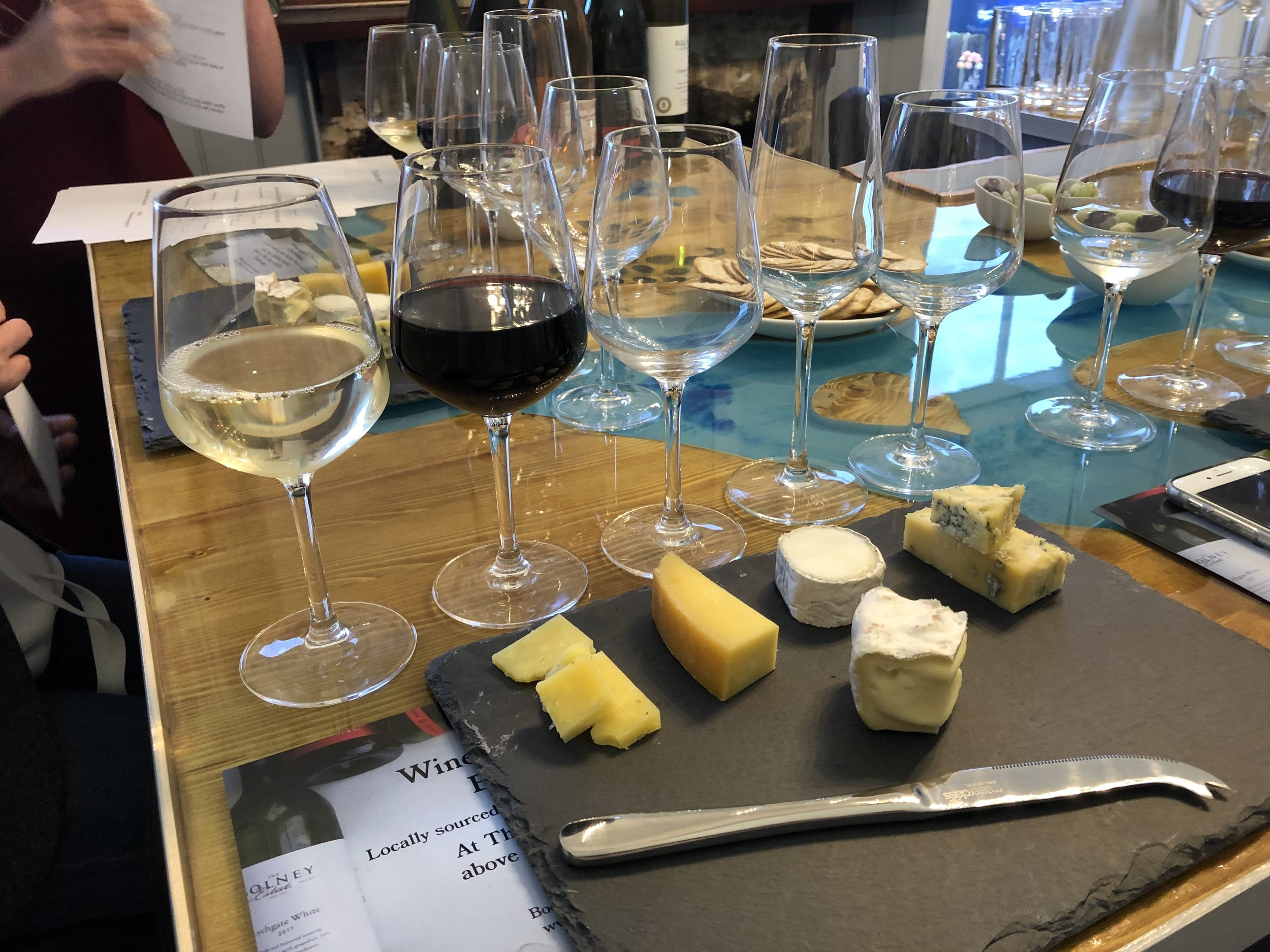 Five English (local) wines accompanied by five English cheeses