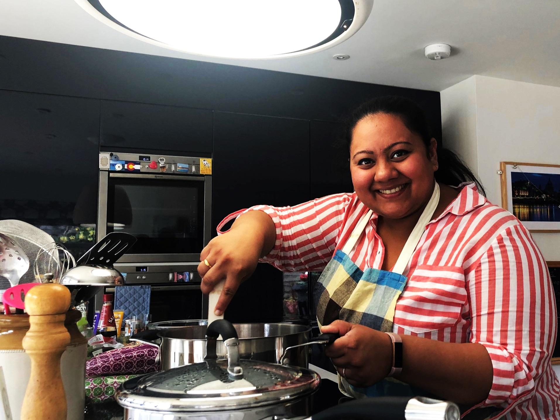 Sana of Masala Pantry in my kitchen