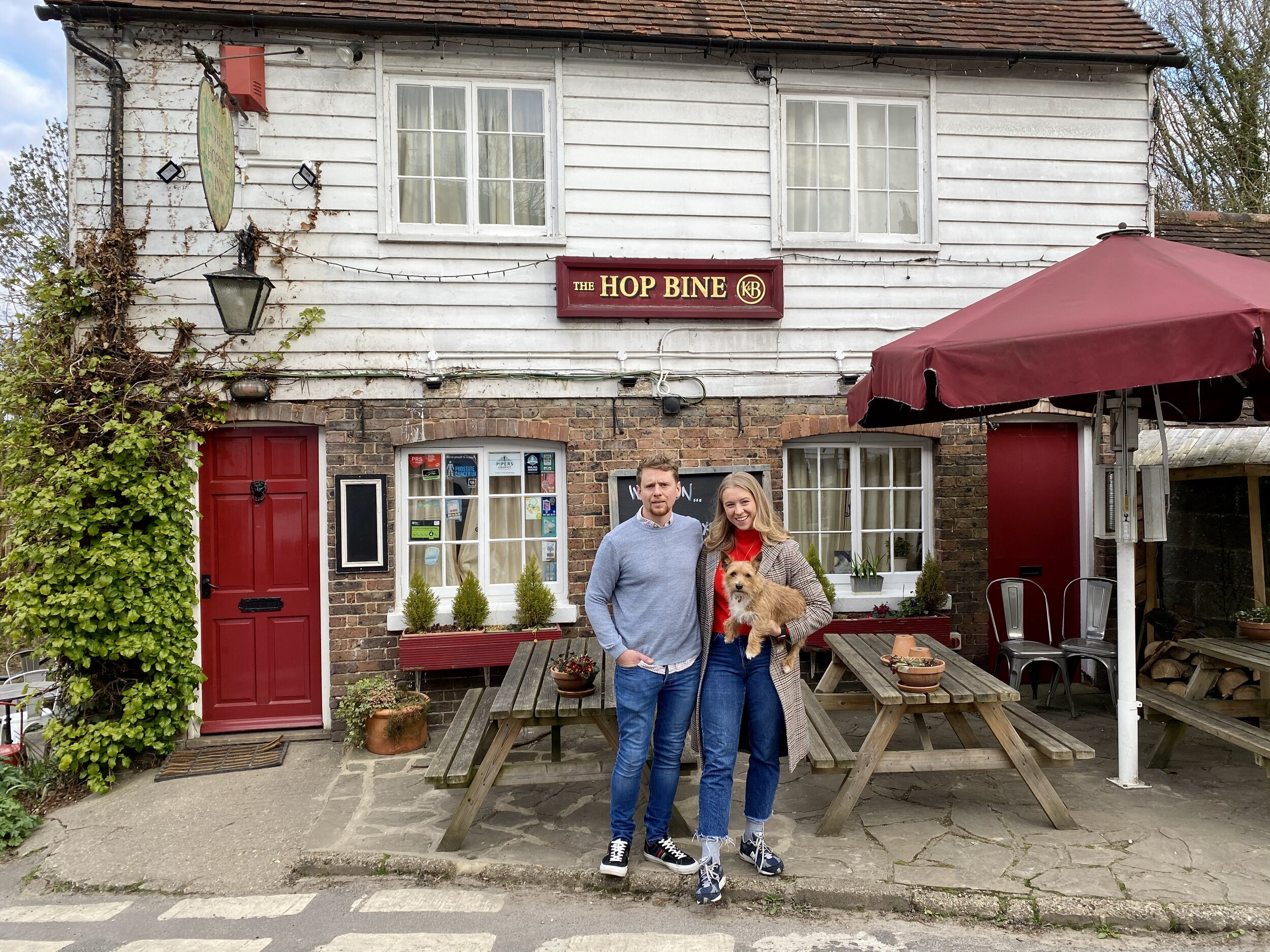 Charlotte and her brother outside his pub, The Hopbine.