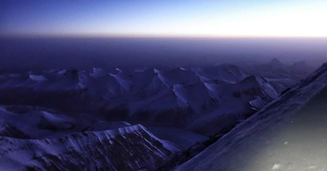"""Sunrise over the Tibetan Plateau from 28,000 feet yesterday morning. Incredible beauty surrounded us right alongside the very real hazard as our carefully planned safety net was stripped away. Today has been a day of debriefing our """"near miss"""", and appreciating the fact that all of us are still here to remember this beauty. #everest2018 #Everest"""