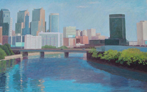 View From Spring Garden Bridge , oil on Board, 30 x 18 inches