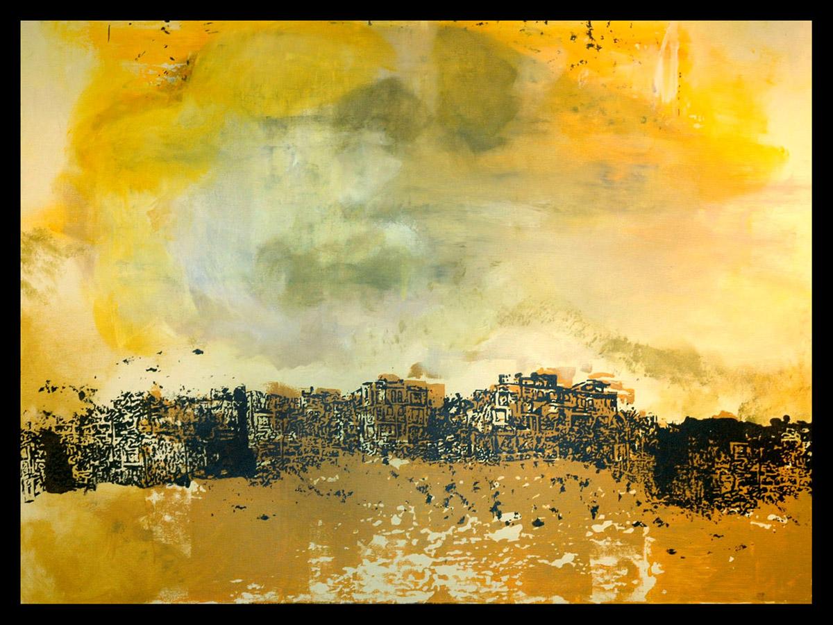 Las Casas En Las Colinas,  Silkscreen and Acrylic Painting, 36 x 48 inches