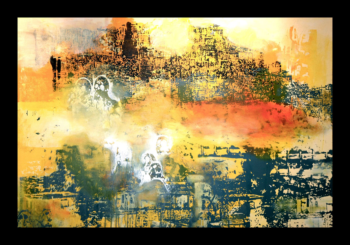 Lost Cities (Ciudades Perdidas),  Silkscreen and Acrylic Painting, 36 x 48 inches