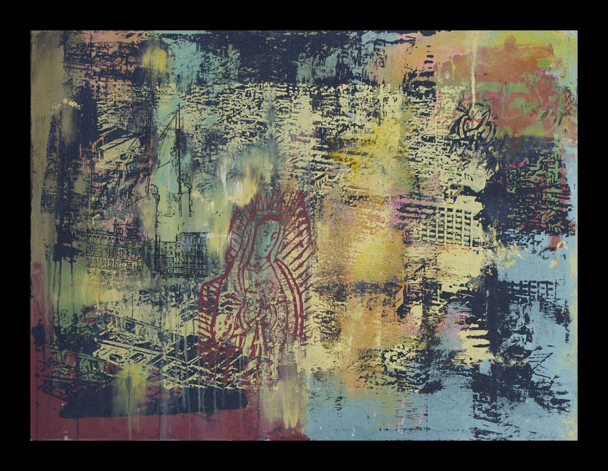Pray for Us (Rece para Nosotros),  Silkscreen and Acrylic Painting, 36 x 48 inches