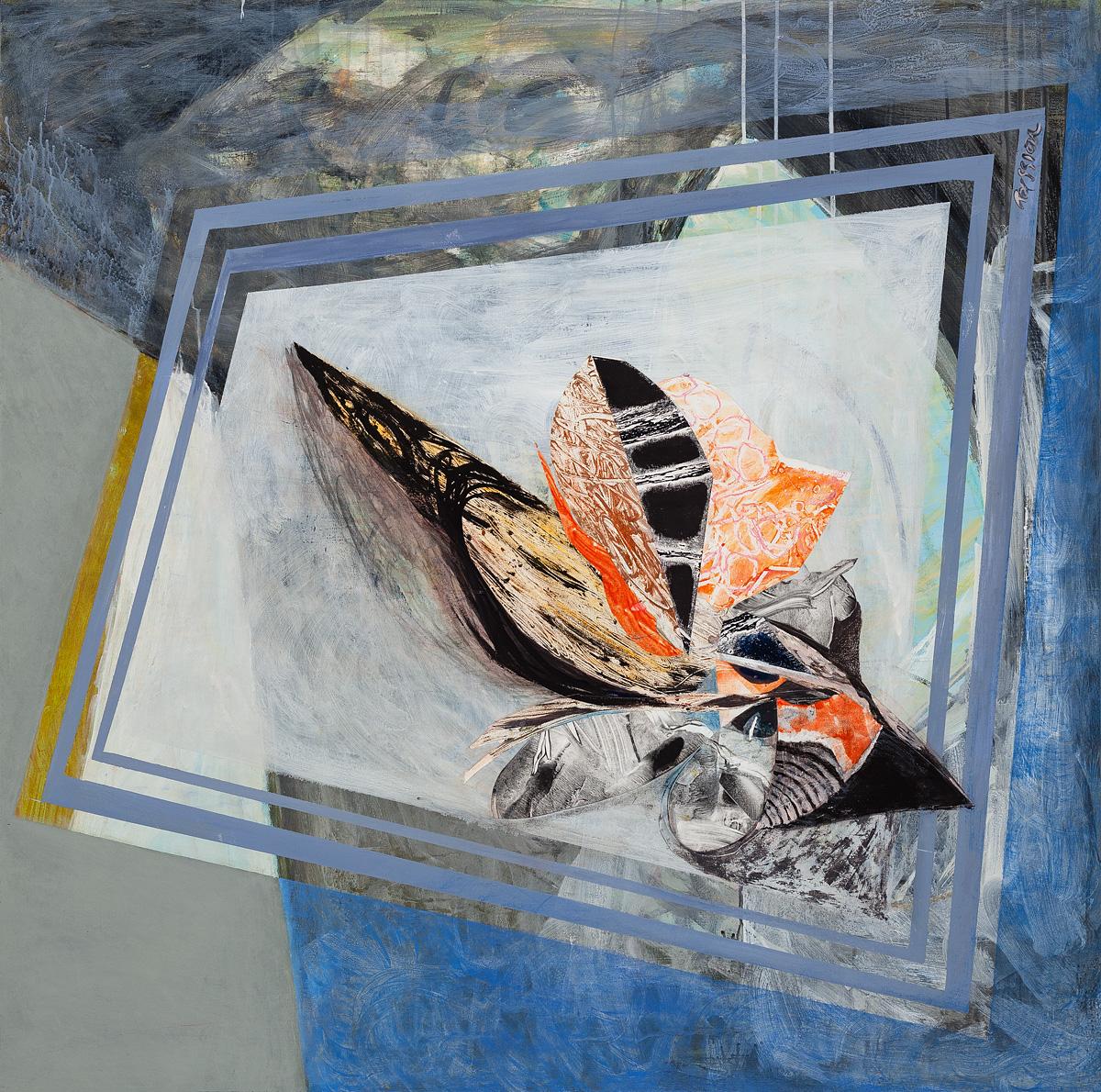 Peaceful Sleep,  mixed media, acrylic, collage on wood panels, 48 x 48 inches