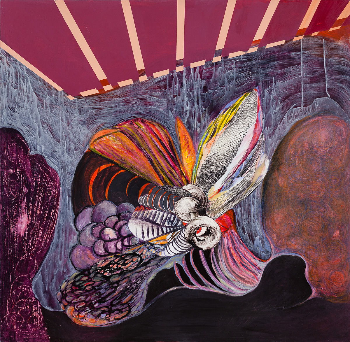 Flying Circus,  mixed media, acrylic, collage on wood panels, 48 x 48 inches