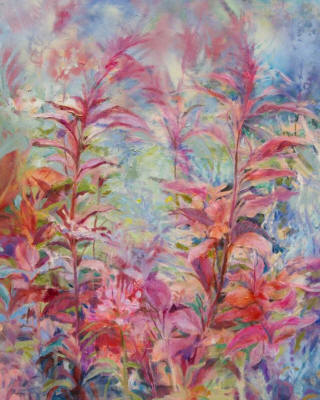Amaranthus,  oil and enamel on canvas, 30 x 24 inches