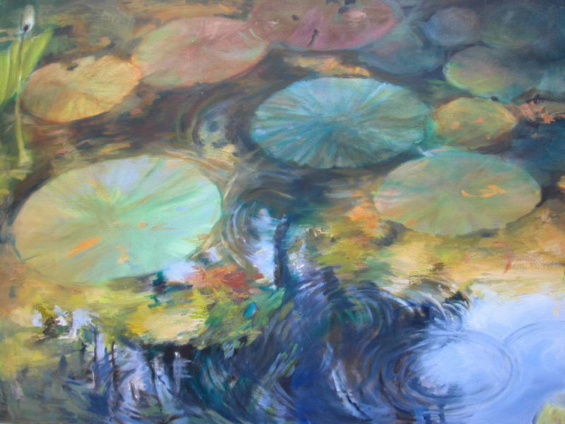 Lily Pond,  oil on canvas, 30 x 40 inches