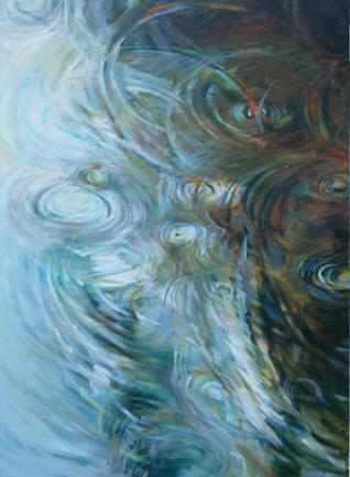 Rain Drops,  oil on canvas, 48 x 36 inches