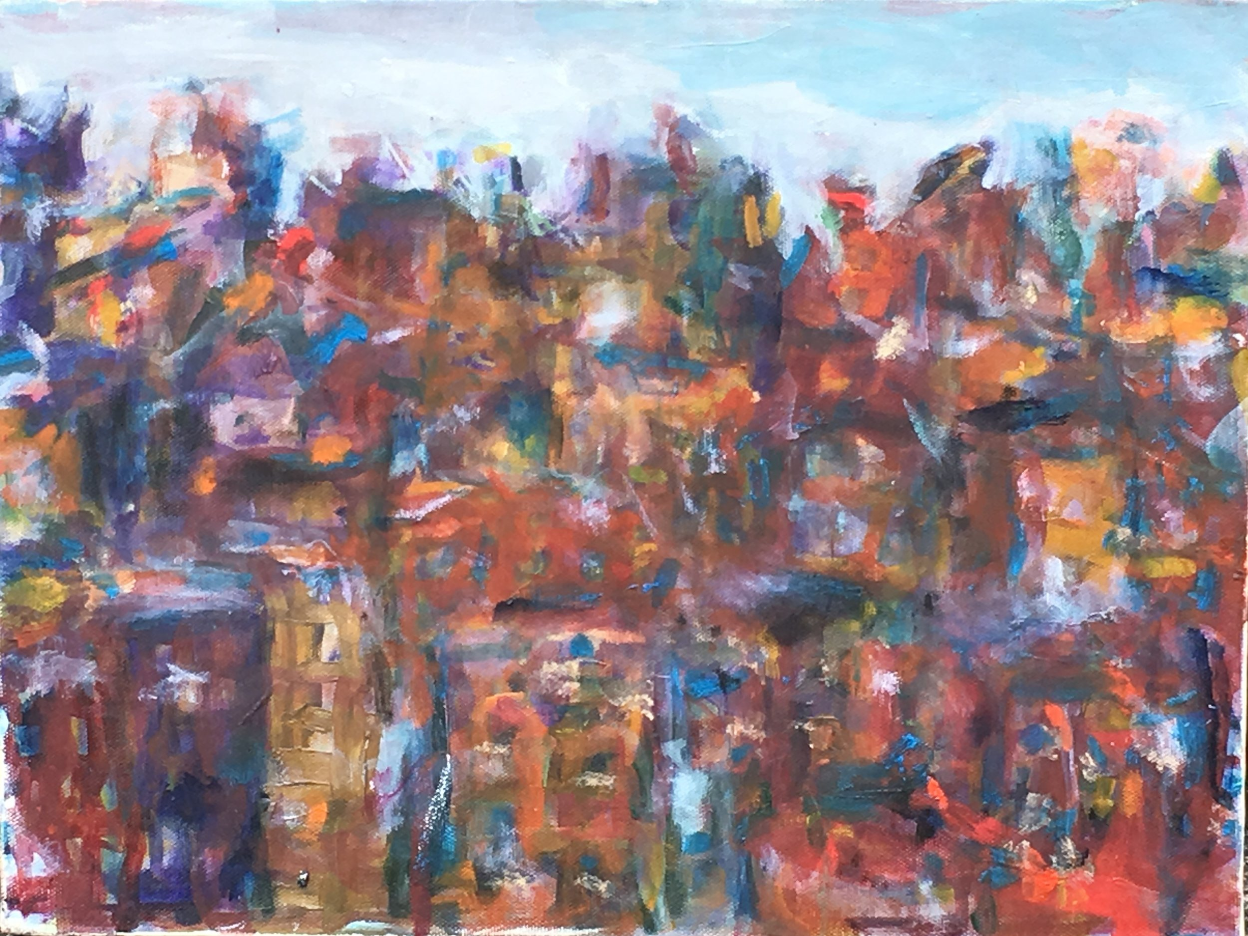Kristine Flannery_ My City in Twilight Study - Original 12 x 16 - Oil on Canvas.jpg