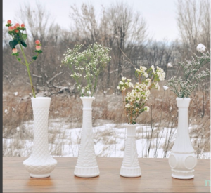"""Our first """"styled shoot"""" AKA Madison and I drove out to a gravel road and set up a table in a ditch to take pictures in the snow. We're a little more organized now :)"""