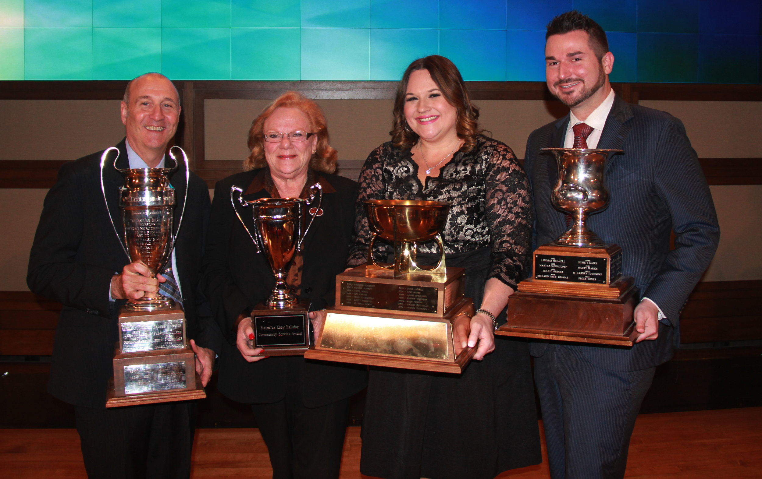 2016 MetroTex Award Winners (from l-r) Russell Berry, Easterwood Cup; Sandy Donsky, Ebby Halliday MetroTex Community Service Award; Kimberly Addison Kramer, Affiliate of the Year Award; Johnny Mowad, Lois Hair Bernays Award.