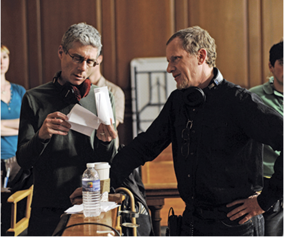Co-directors Jeffrey Friedman, left, and Rob Epstein confer on the set of the narrative feature  Howl .