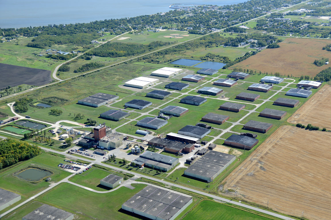 An aerial image of the Crown Royal distillery in Gimli, Manitoba.  Copyright Jeremy Dueck, Courtesy of Crown Royal.