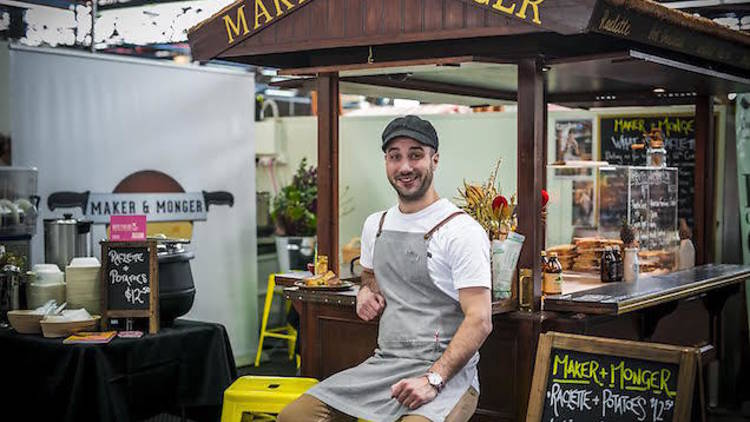 Maker and Monger - TIME OUT – 20 OCT 2015Cheesemonger Anthony Femia knows the secret to a good cheesy treat. It's simple really, all you need is gooey melty cheese with lots of crusty, crunchy bits. This is why the only two menu items at Maker and Monger, his Prahran Market cheese cart, are grilled cheese toasties and raclette cheese melted on potatoes and cornichons (the Swiss way, if you must know).Read more...
