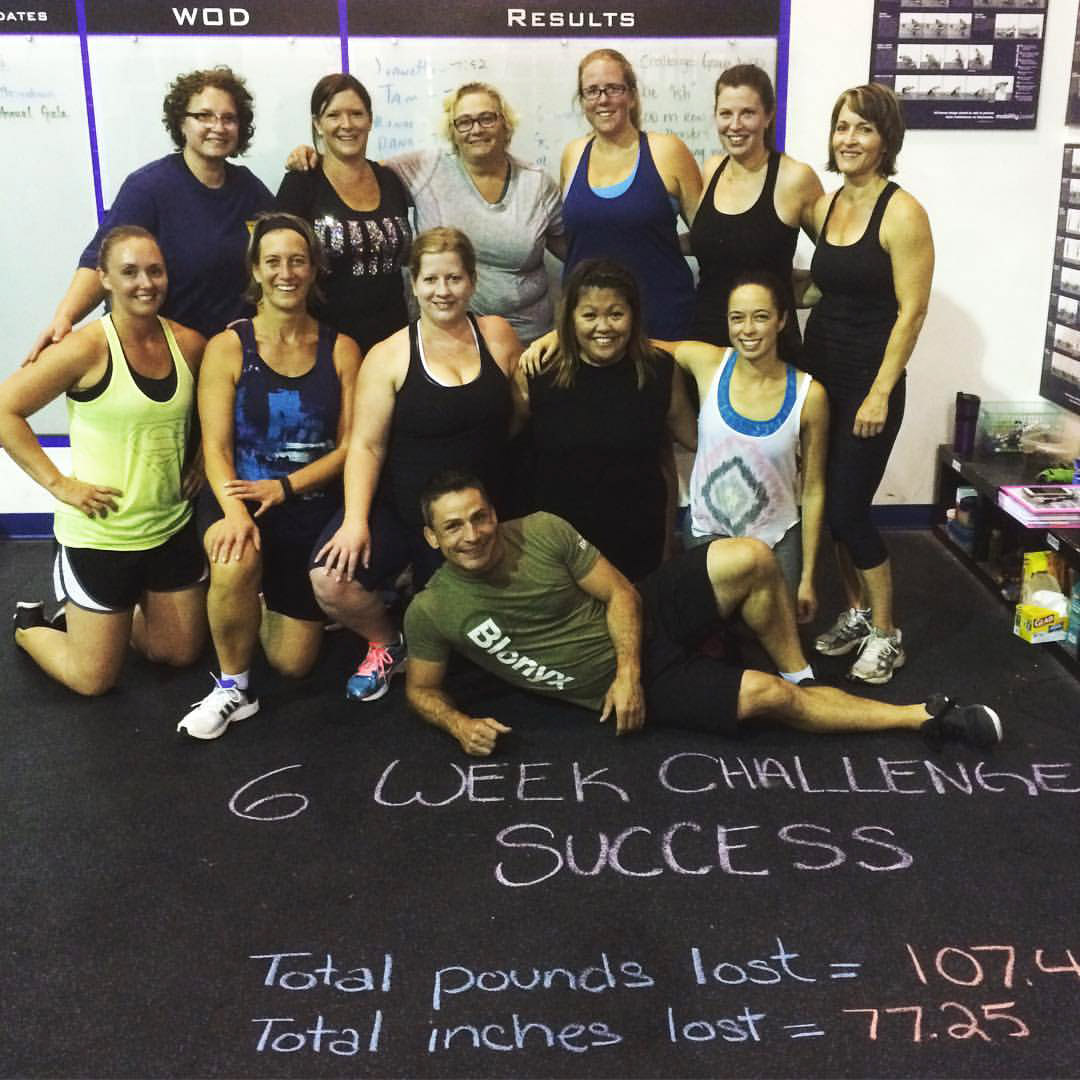 6 week challenge bootcamp success! Total pounds lost: 107.4. Total inches lost: 77.25!