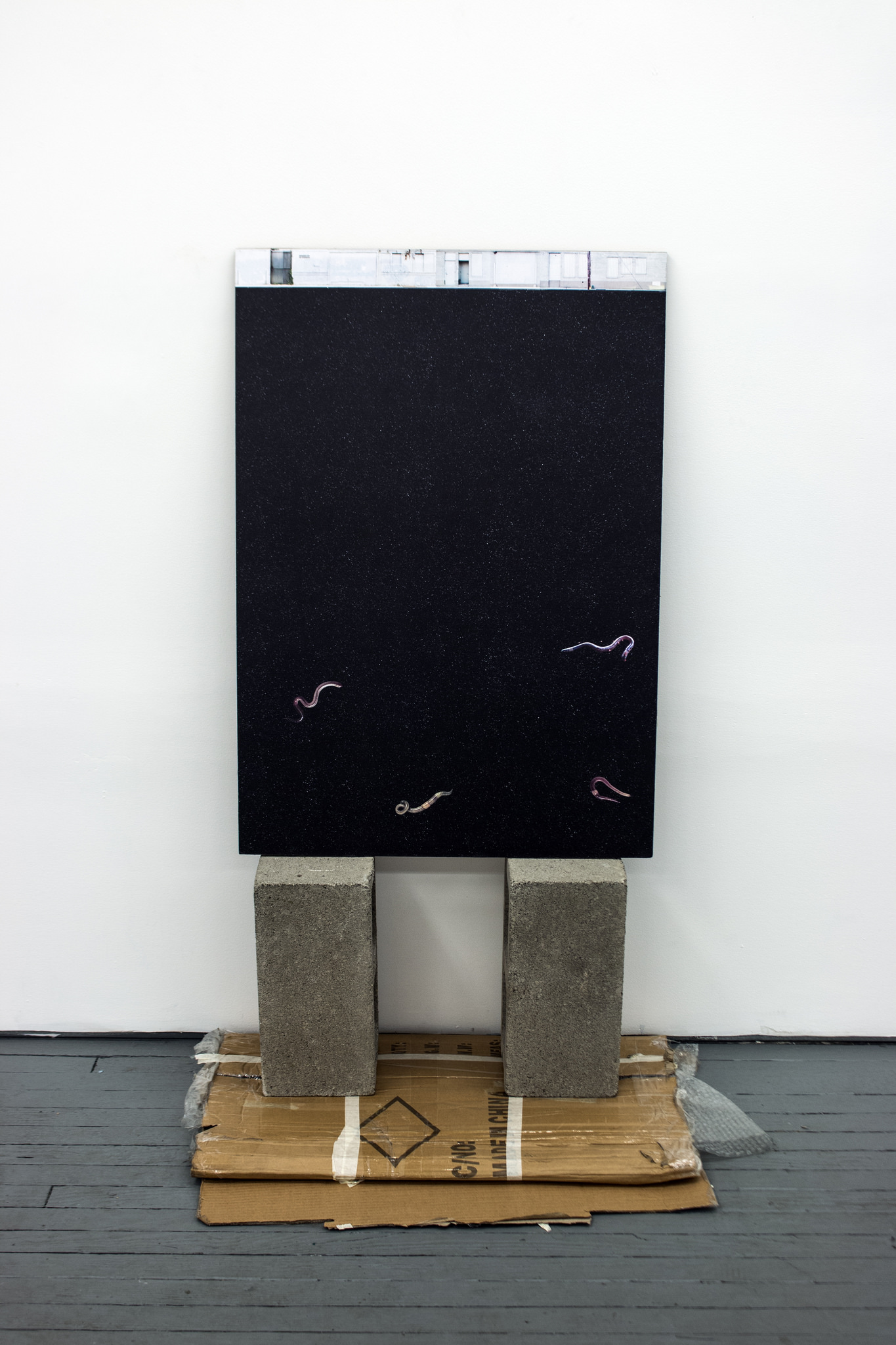 "Roma Pas' ""Untitled (Beggars Can Be Choosers),"" a digital photo collage adhered to corrugated cardboard and propped upon cinderblocks considers the relationship between physical and digital space."